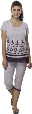 Second SKIN Women's Geometric Print Multicolor Top & Pyjama Set