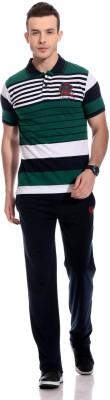 TAB91 Fashion Forecast Men's Striped Dark Green Top & Pyjama Set
