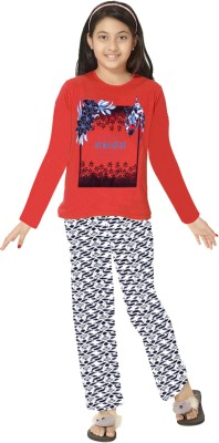 So Sweety Girl's Printed Red Top & Pyjama Set