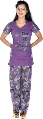 Rosabela Women's Printed Purple Top & Pyjama Set