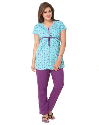 Avani Women's Floral Print Blue, Purple Top & Pyjama Set