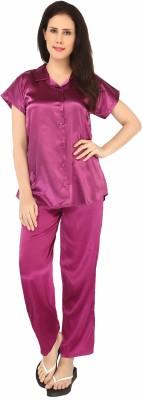 Sweet Heart Women's Solid Purple Top & Pyjama Set