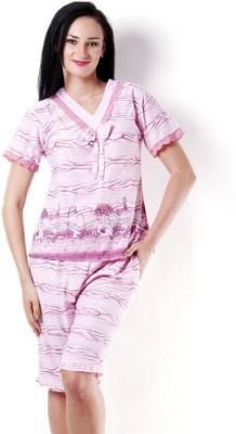Kunchals Women's Printed Pink Top & Capri Set