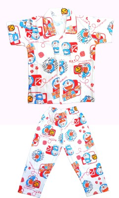 Smilee Boys Printed Red Top & Pyjama Set
