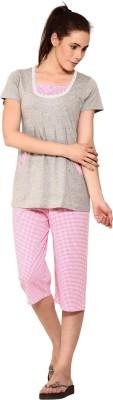 Softwear Women's Printed Grey Top & Capri Set