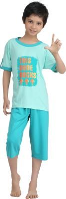 Kanvin Boy's Printed Green Top & Capri Set