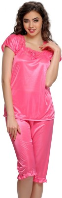 Clovia Women's Solid Pink Top & Capri Set