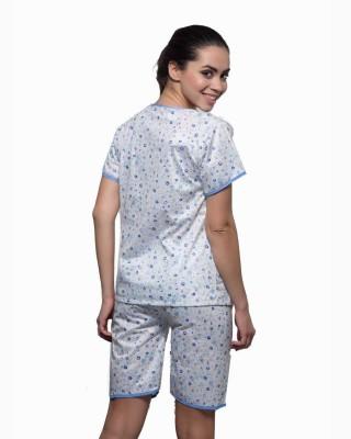 Kunchals Women's Self Design Blue Top & Capri Set