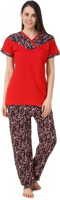 Fasense Women's Solid, Floral Print Red, Black Top & Pyjama Set