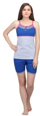 Valentine Women's Geometric Print Grey, Blue Top & Shorts Set
