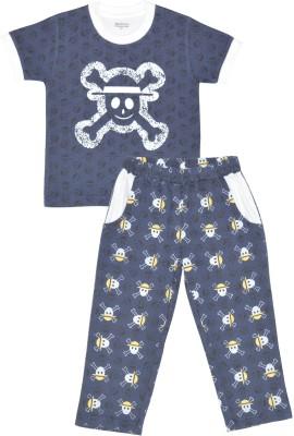 PRANAVA Boy's Printed Dark Blue Top & Pyjama Set
