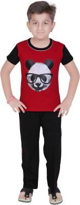 13 in Boy's Printed Red Top & Pyjama Set