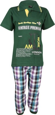 Meril Boys Printed Green T-shirt & Three-forth Set