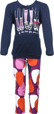Pepito Girl's Printed Blue Top & Pyjama Set