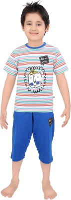 Punkster Boy's Striped Multicolor T-shirt & Three-forth Set
