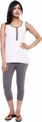 Softwear Women's Printed White Top & Capri Set