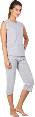 Click Hit Softle Top Payjama set Women's Solid Grey, Grey T-shirt & Three-forth Set