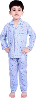 Kingstar Boy's Printed Light Blue Top & Pyjama Set