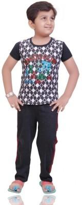 Mint Boy,s Printed White Top & Pyjama Set