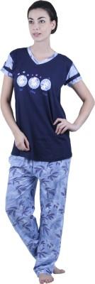 Vixenwrap Women's Printed Blue Top & Pyjama Set