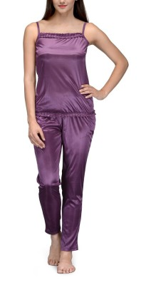 Meow Women's Solid Purple Top & Pyjama Set
