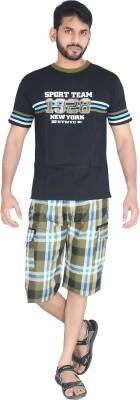 Speed Ball Men's Printed Black, Blue Top & Shorts Set