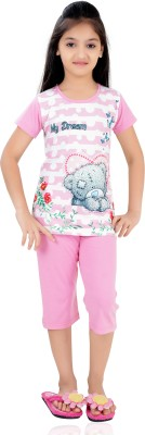 Just4You Girl's Printed Pink Top & Capri Set