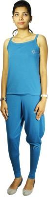 Bluedge Women's Solid Blue Top & Pyjama Set