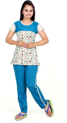 MAHAARANI Women's Printed Blue Top & Pyjama Set