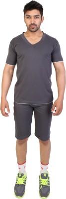 Obvio Men's Solid Grey T-shirt & Three-forth Set