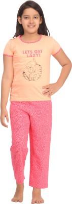 Kanvin Girl's Printed Beige Top & Pyjama Set