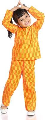 Little pocket store Girl's Printed Yellow Top & Pyjama Set