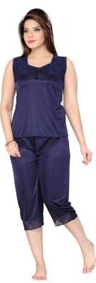 Ishin Women's Solid Blue Top & Capri Set
