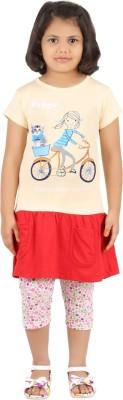 SPN Garments Girl,s Graphic Print Yellow, Pink, Red Top & Capri Set