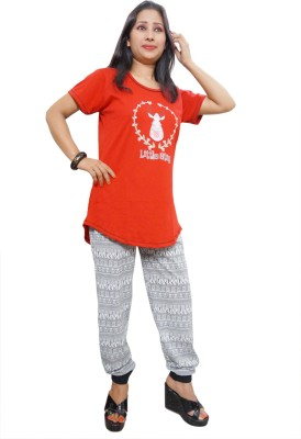 Indiatrendzs Women's Printed Red, Grey Top & Pyjama Set