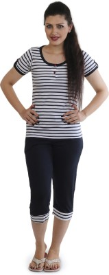 Slumber Jill Women's Striped Dark Blue, White Top & Capri Set