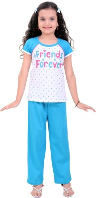 Be 13 Girl's Printed Blue Top & Pyjama Set