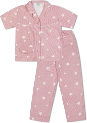 Green Apple Girl's Printed White Top & Pyjama Set