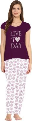 So Sweety Women's Solid Purple Top & Pyjama Set