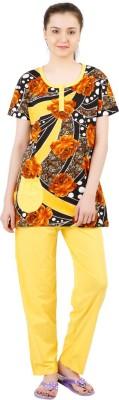 Informal Wear Women's Floral Print Yellow, Black Top & Pyjama Set