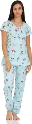Squirrel Women's Printed Blue Top & Pyjama Set