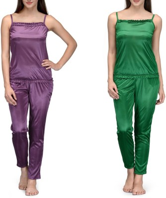 Meow Women's Solid Purple, Green Top & Pyjama Set