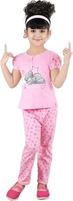 Chocoberry Rose Girl's Printed Pink Top & Pyjama Set