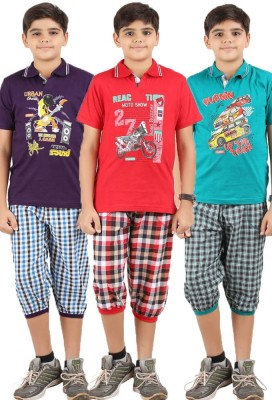 Meril Boys Checkered Purple, Green, Red T-shirt & Three-forth Set