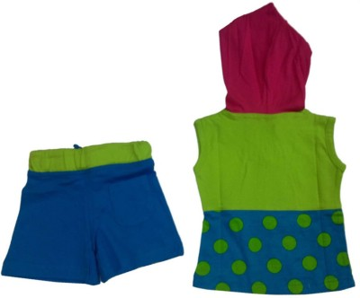 Tomato Girl's Printed Multicolor Top & Shorts Set