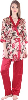 Private Lives Women's Printed Maroon T-shirt & Three-forth Set