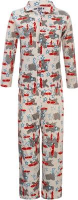Kothari Baby Boy's Printed White Top & Pyjama Set
