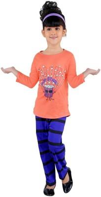 Bella & Brat Girl's Printed Orange, Purple Top & Pyjama Set
