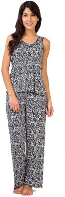 Penny by Zivame Women,s Animal Print Black Top & Pyjama Set