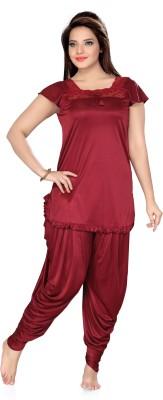 Ishin Women's Solid Red Top & Pyjama Set
